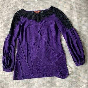 Tory Burch Silk and Lace Long Sleeve Top